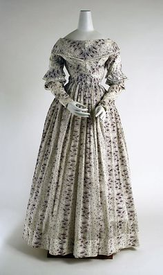 Printed cotton morning dress, British, 1837-1840. Those 1800's Brits looked so much better than I do in the mornings!