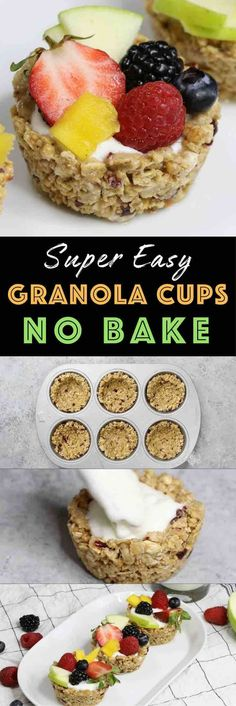 Granola Breakfast Cups with Yogurt and Fruits – the easiest wholesome and beautiful breakfast granola cups made with only 3 ingredients: granola, butter and mini marshmallows. You can customize your favorite fillings and toppings such as yogurt and fruits in the crunchy granola crust! No bake. Quick and easy video recipe. | http://Tipbuzz.com