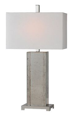 <p>This regal lamp features a body made of elegant antiqued mirror.  Finished with an off white linen shade.</p>