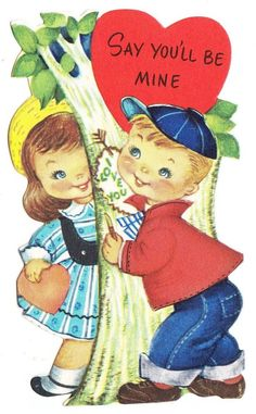 Vintage Gibson Valentine Card ~ Little Boy Carving I Love You on Tree
