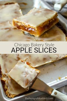 Chicagostyle bakery apple slices Apple filling between two crusts in a sheet pan topped with vanilla glaze and cut into squares Oreo Desserts, Fall Desserts, Just Desserts, Baking Dessert Recipes, Desserts With Apples, Non Bake Desserts, Sweet Desserts, Bakery Recipes, Apple Slices