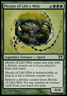 Magic: the Gathering - Myojin of Life's Web - Champions of Kamigawa - Foil Mtg Decks, Green Magic, Writing Fantasy, Mtg Art, Monster Cards, Legendary Creature, Curious Creatures, Nerd Art, Magic The Gathering Cards