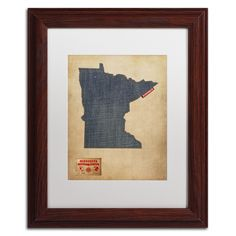 'Minnesota Map Denim Jeans Style' by Michael Tompsett Framed Graphic Art