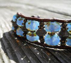 Cornflower Blue / Beaded Leather Wrap Bracelet / OOAK by DeLucaArt, $50.00