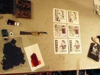 block printing by hand using mounted linoleum block and water-based block printing ink
