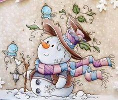 Copic colors I used: Background: Blender. Snow and Snowman: Hat and vest: Nose: Blue: Lilacs and violets: Shirt buttons: Farol: Birds: Leaves: Staff: Christmas Clipart, Christmas Printables, Christmas Pictures, Christmas Drawing, Christmas Paintings, Christmas Rock, Christmas Projects, Diy Xmas, Puffy Paint