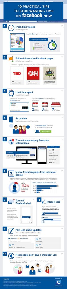 10 Practical Tips To Stop Wasting Time on #Facebook Now #infographic #SocialMedia