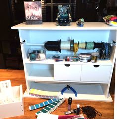 Desktop spool, tool, and anything organizer. Shelves, drawers, ribbon holder - great for organizing your beading and jewelry-making materials. Go-Organize.com