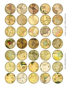 25mm round digital collage maps - Google Search