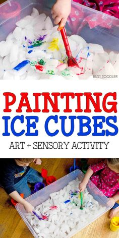 Painting Ice Cubes Activity – Busy Toddler PAINTING ICE CUBES: A fun sensory activity for toddlers and preschoolers; painting and sensory activity rolled into one; an easy indoor activity for toddlers; Toddler Classroom, Toddler Preschool, Toddler Crafts, Crafts For Kids, Toddler Sensory Bins, Sensory Play, Sensory Table, Baby Sensory, Diy Preschool Toys