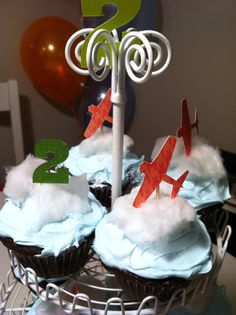 airplane cupcakes with cotton candy clouds