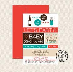 Co Ed Baby Shower Beer Bottle To Baby Bottle - 15 Custom Invitations with Envelopes on Etsy, $25.00