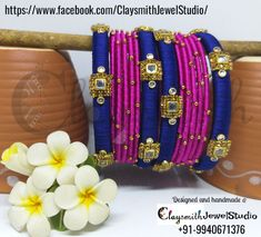 Silk thread bangle with a stylish and trendy floral pattern or kada designer piece - SSC Arts thread bangle with a stylish and trendy floral pattern or .Blue and pink colored Kundan worked single Silk Thread Bangles Design, Silk Thread Earrings, Thread Jewellery, Diy Jewellery, Wire Jewelry Rings, Ear Jewelry, Jewelry Crafts, Handmade Jewelry, Flower Jewelry
