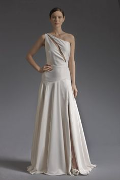 Simplicity and elegance are combined to create a dramatic one shoulder gown of crepe satin. Love Birds by Victoria KyriaKides Wedding Dresses Photos, Wedding Dress Styles, Designer Wedding Dresses, One Shoulder Gown, One Shoulder Wedding Dress, Greek Fashion, Wedding Etiquette, Fashion Images, Bridal Collection