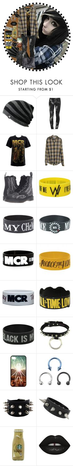 """""""Yellow MCR"""" by chemicalfallout249 ❤ liked on Polyvore featuring Hai, Balmain, Dr. Martens, Starbucks, Lime Crime, emo, bands, alternative and mcr"""