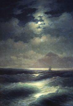 victoriousvocabulary:  GUMUSSERVI [noun] Turkish: moonlight shining on the water. [Ivan Aivazovsky]