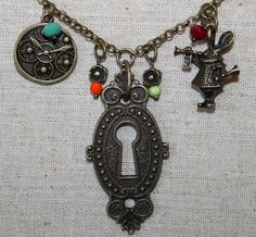 One-of-a-kind hand made STEAMPUNK jewelry pieces. I use a combination of vintage, used, & store bought items. Black Diamond Wedding Rings, Alice In Wonderland Theme, Steam Punk Jewelry, Steampunk, Victorian, Key, Pendant Necklace, Board, Handmade