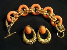 Vtg Kenneth Jay Lane CHUNKY CHAIN Link Bracelet & Earring Set Signed #KennethJayLane #Chain