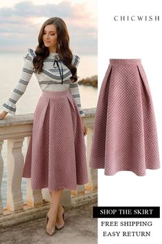 Fancy Sheen Quilted Velvet Skirt in Pink featured by larisacostea Search results for: 'velvet skirt' - Retro, Indie and Unique Fashion How to wear fall fashion outfits with casual style trends Modest Fashion, Hijab Fashion, Fashion Dresses, Look Fashion, Unique Fashion, Womens Fashion, 80s Fashion, Led Dress, Dress Skirt