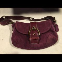 sale coach bag Cute plum coach bag, great small bag for a night out or everyday use, suede, leather lath in the front has a bit of wear shown in the photos , inside is clean, no rips, no smoking home, great bag for a great deal Coach Bags Mini Bags