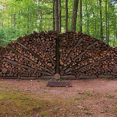 Peacock Style Wood Pile Firewood Rack, Firewood Storage, Outdoor Art, Outdoor Gardens, Stacking Wood, Wood Shed, Garden Structures, Environmental Art, Outdoor Projects
