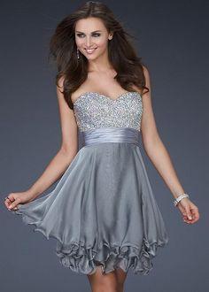 short grey dresses  | Short Grey Sequin Top Layered Wire Hem Dress for... | StyleCaster