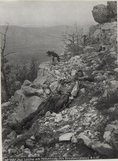 WW1; The remains of an Italian soldier on a ridge of the Brestovac Valley, November 1917.