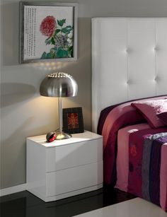 Sandra Contemporary Bedside Cabinet In White High Gloss