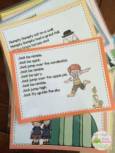 Nursery Rhymes printed out and laminated. Makes for great reading!