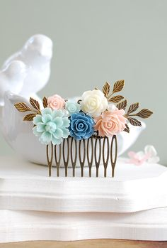 Soft Pink Mint Green Dusty Blue Ivory Rose Hair Comb Mint and Pink Wedding Hair Comb Bridal Hair Accessory Bridesmaid Gift Brass Leaf Comb by LeChaim on Etsy https://www.etsy.com/listing/232597022/soft-pink-mint-green-dusty-blue-ivory