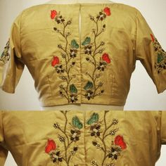 A butterfly embroidered silk blouse with zardosi and zari work. For Queries reach us at / Whatsapp: 9789903599 Address: 21 Valmiki street, thiruvanmyur Best Blouse Designs, Sari Blouse Designs, Saree Blouse Patterns, Blouse Styles, Embroidery Fashion, Embroidery Blouses, Simple Embroidery, Hand Embroidery, Maggam Work Designs