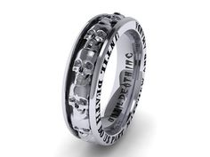 Mens Skull Wedding Band Solid 14K White Gold With By UntilDeathInc