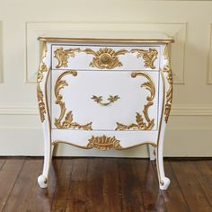 Versailles French white bedside table with a gold trim