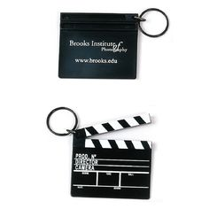 Zoom in on a promotional product that just may make your client feel like a star! Attached to the key holder you'll find a plastic replica of the classic movie clapboard. This miniature version of a Hollywood staple will give you repeat exposure for your company name or logo. An ideal giveaway for tradeshows, this would be an excellent gift shop item in entertainment-focused tourist attractions!