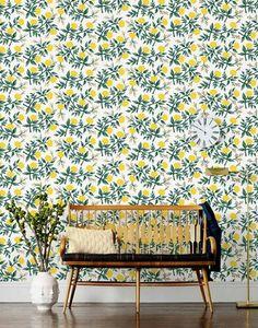 Wallpaper Ideas for the Living Room lemons on wallpaper