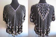 SOLD Purple silver gold beaded butterfly batwing by Tenoutof10Vintage, $52.00