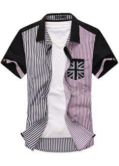 Preppy Short Sleeve Striped Shirt