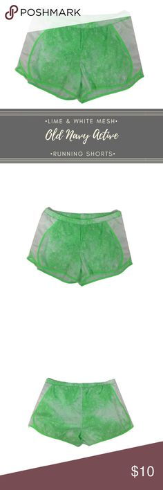 """Old Navy Active White & Lime Running Short size XL Super cute Old Navy Active running shorts in Lime and white. Featuring an interior key pocket, built in undies and mesh sides. Size XL  Measurements taken laying flat:  Waist: 20-24"""" Length: 13""""  F28 Old Navy Shorts"""