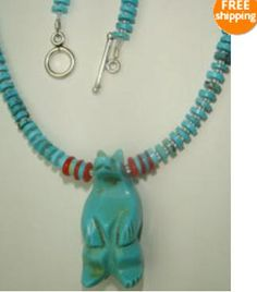 I used 5mm genuine turquoise heishi beads with silver foil liined glass seed beads. There's also genuine red coral spacers in front near the large hand carved Navajo Bear. The bear measures 1 and 1/2 inches long and is one solid hand carved piece. The necklace measures 20 inches in length overall finished off with a solid sterling silver toggle clasp. This piece is signed with my regular signature logo tag and is another one and only piece.