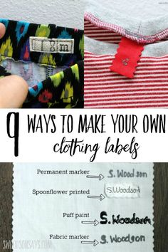 See creative ideas for making your own clothing labels! Great diy sewing label tutorials so you can be handmade from head to toe.