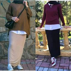 Oversized sweater with pencil skirt-Fashion winter coats and jackets with hijab – Just Trendy Girls