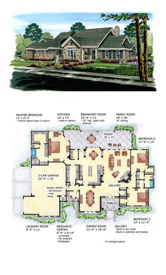 Ranch Home Concept Plan 56536 | Total Living Area: 2540 Sq. Ft.,