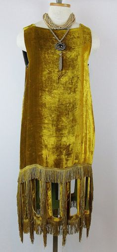 Vintage JEAN PAUL GAULTIER Marigold Grecian Silk Velvet Cut Out Fringe Cocktail  Dress~ I  haven't been able to find the year this was made but as JPG was born in 1952 post 1970 is a good bet