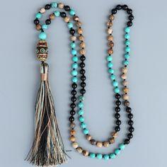 Long Boho Mala Gemstone Beaded Turquoise & Onyx Tassel Necklace