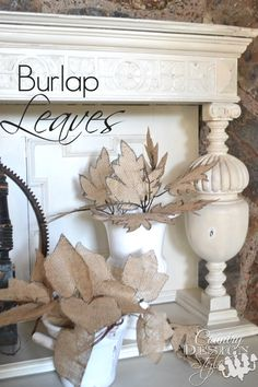 Burlap Leaves with easy tutorial.  Gather in a vase, make a garland, or add to a fall wreath - Country Design Style