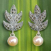 Sterling silver, marcasite and cultured freshwater pearl