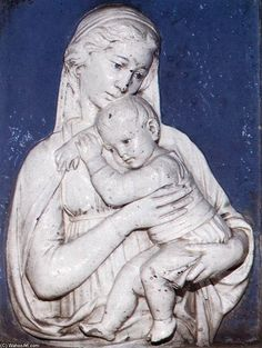 'Madonna and Child', Terracotta by Luca Della Robbia (1399-1483, Italy)