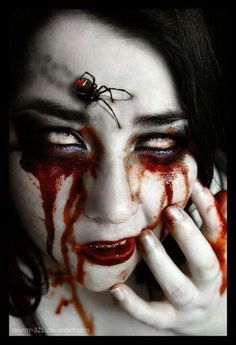 The fact that the spiders legs are poking into the skin as it walks is creepy.. Creepy Face!!! #horror #creepy #vampire: