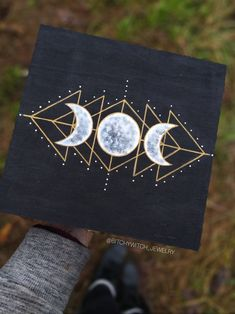 Made by on IG. Go to them for all your witchy needs! Small Canvas Paintings, Small Canvas Art, Mini Canvas Art, Hippie Painting, Diy Painting, Painting & Drawing, Moon Painting, Art Diy, Aesthetic Painting