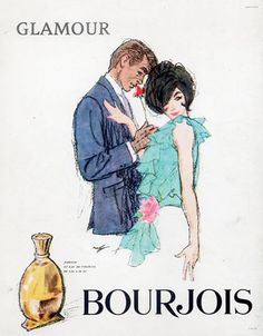 Bourjois (Perfumes) 1962 Glamour, Lover, Hof Vintage advert Perfumes illustrated by Hof | Hprints.com